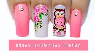 getlinkyoutube.com-Unhas Decoradas Coruja - owl nail art - Aline Makelyne