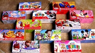 My Zaini Kinder Surprise Eggs Collection Frozen Mickey CARS Spiderman Princess HotWheels 3D
