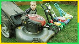 getlinkyoutube.com-Lawn Mowers for KIDS | Toy Lawn Mowers vs Real Lawn Mower | YARD Work FUN with Brothers R Us! 4K!