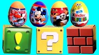 getlinkyoutube.com-SURPRISE CUBES Kinder Egg SpongeBob Sponge out of Water, KungFu Panda Mickey 3D qube Huevos Sorpresa