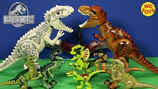 getlinkyoutube.com-9 AWESOME LEGO DINOSAUR TOYS JURASSIC WORLD (Original) - Velociraptor, Indominus Rex, T-Rex  WD Toys
