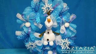 getlinkyoutube.com-DIY Frozen Inspired Olaf Wreath How To Tutorial - Curls Curly Ribbon Deco Poly Geo Mesh