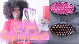 getlinkyoutube.com-Simply Straight Hair Brush Straightener On Natural Hair