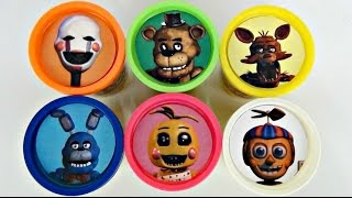 getlinkyoutube.com-FIVE NIGHTS AT FREDDY'S Playdoh Toy Surprises with Chica, Bonnie, Foxy FNAF MyMojies, Hangers / TUYC