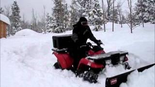 getlinkyoutube.com-ATV Plowing 3 Feet of Snow: Kawasaki Prairie 400