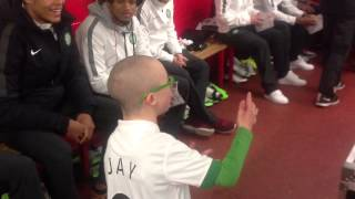Wee Jay gives the team talk to Glasgow Celtic