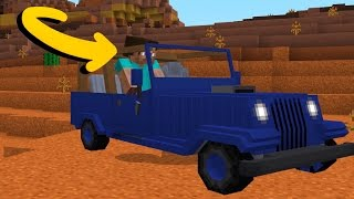 getlinkyoutube.com-Cars in Minecraft Pocket Edition (JEEP ADDON)