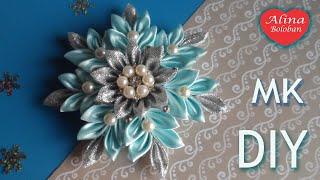 getlinkyoutube.com-Новогодняя Снежинка Канзаши МК / Christmas Snowflake kanzashi DIY