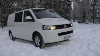 getlinkyoutube.com-Transporter T5 blue 4motion light snow driving