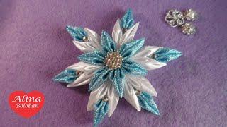 getlinkyoutube.com-Новогодняя Снежинка Канзаши на Универсальном Креплении / D.I.Y Christmas Snowflake