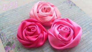 getlinkyoutube.com-Как сделать плоские Розы из лент/ Ribbon Rose Tutorial / ✿ NataliDoma DIY