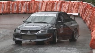 getlinkyoutube.com-Mitsubishi Special at Swiss Hillclimb 2012, Lancer EVO 6 to 10, Drift, Flames, Action