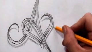 getlinkyoutube.com-Initial A and Heart Combined Together - Celtic Weave Style - Letter Tattoo Design