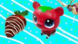 getlinkyoutube.com-LPS Custom Bear Chocolate Dipped Strawberry DIY Littlest Pet Shop Disney Frozen Sven Olaf