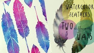 getlinkyoutube.com-Watercolor Tutorial: How to paint FEATHERS in TWO different WAYS - by ART Tv