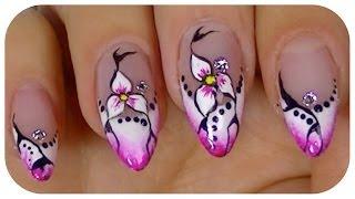 getlinkyoutube.com-Pretty Flower,Elegant nail art video design,Step By Step Tutorial