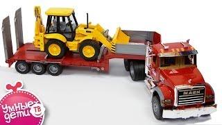 getlinkyoutube.com-Машинки. Транспортировщик Mack c экскаватором - погрузчиком JCB от Bruder (02813). Bruder Toys