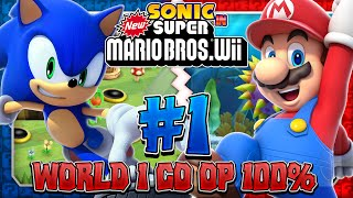 getlinkyoutube.com-Sonic & Mario in New Super Mario Bros Wii - Co Op 100% - Part 1