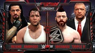 getlinkyoutube.com-WWE RAW 11/23/15 - Roman Reigns & Dean Ambrose vs Sheamus & Triple H - WWE RAW 2K16