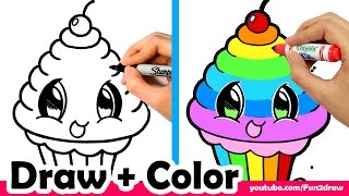 getlinkyoutube.com-How to Draw a Rainbow Cupcake Cute + Easy