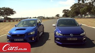 getlinkyoutube.com-Drag Race: VW Golf 7 R vs Subaru STI