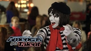 Larry The Mime: Nick Cannon Pulls Prank On Judges - America's Got Talent 2014 (Highlight) width=