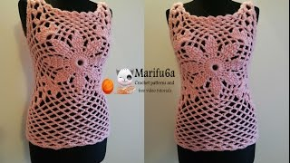 getlinkyoutube.com-How to crochet pink quickly top free tutorial pattern by marifu6a