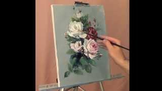 getlinkyoutube.com-Живопись маслом. Розы