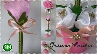 getlinkyoutube.com-Caneta com ponteira de rosa no vasinho DIY \ Pen with pink tip in the little vase