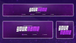 getlinkyoutube.com-Cool YouTube Banner Template | Banner, Twitter Header, Avatar (PSD)