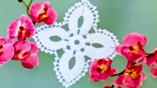 getlinkyoutube.com-Flor de 4 pétalos🌸 para mantel ó camino de mesa