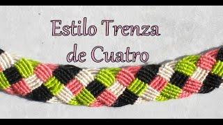 getlinkyoutube.com-Pulsera de Hilo: Estilo Trenza de Cuatro