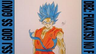 getlinkyoutube.com-Drawing SSJ God SS Goku    DBZ: Fukkatsu no F / Resurrection of F 劇場版 ドラゴンボールZ 復活のF