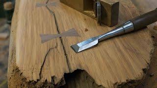 Woodworking, DIY Bow tie Splines, Live Edge Furniture