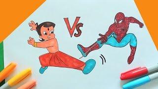 CHHOTA BHEEM Vs Spiderman Coloring | Chhota Bheem Speed Coloring| Chota Bheem Coloring Book