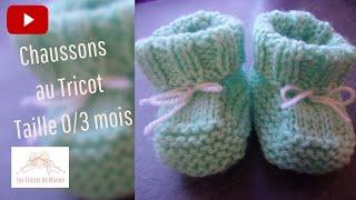 getlinkyoutube.com-Chaussons bébé 0/3 mois au tricot