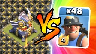 getlinkyoutube.com-Clash Of Clans - EAGLE ARTILLERY vs 46 MINERS!!! THIS IS INSANE!!