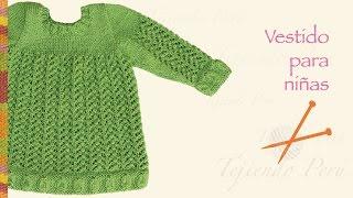 getlinkyoutube.com-Vestido en varios puntos tejido en dos agujas o palitos para niñas