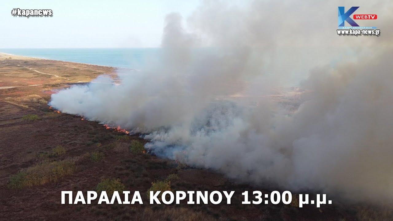 Φωτιά στην παραλία του Κορινού – Παρούσα και η Πυρoσβεστική – Βίντεο απο drone