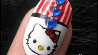 getlinkyoutube.com-4th of July Nails - Independence day Hello Kitty Patriotic Design for Short Nails
