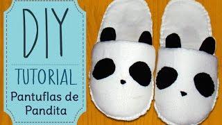 ✁ Como hacer pantuflas de Pandita/Panda Slippers || Kaele ☁