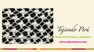 getlinkyoutube.com-Cómo tejer el punto red de flores margaritas a crochet
