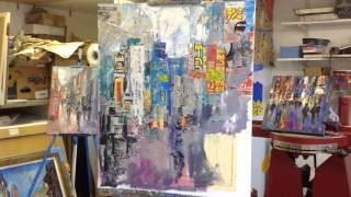 "getlinkyoutube.com-Painting Demonstration Mixed Media Collage ""Tokyo Street Scene"""