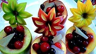 getlinkyoutube.com-8 ЛАЙФХАКОВ КАК КРАСИВО НАРЕЗАТЬ ЯБЛОКИ ! КАК КРАСИВО ОФОРМИТЬ СТОЛ!  Украшения из фруктов
