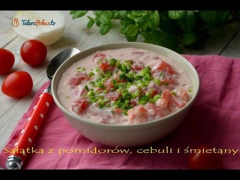 Sałatka z pomidorów, cebuli i śmietany