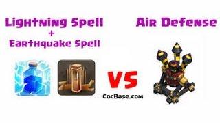 getlinkyoutube.com-Destroying Air defense with lightning & earthquake spell! Clash of Clans