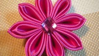 getlinkyoutube.com-Цветок Канзаши мастер- класс. Осваиваем новые лепестки. / DIY Flowers