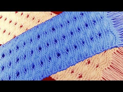 Como tejer una bufanda o chalina en punto entrecruzado tejido con dos agujas