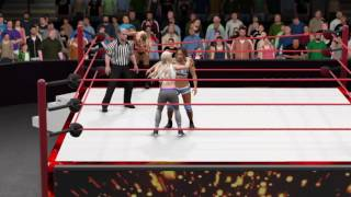 WWE 2K17 Raw Emma and Dana Brooke vs Carmella and Liv