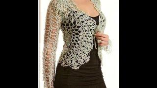 getlinkyoutube.com-Bolero Calado tejido a crochet